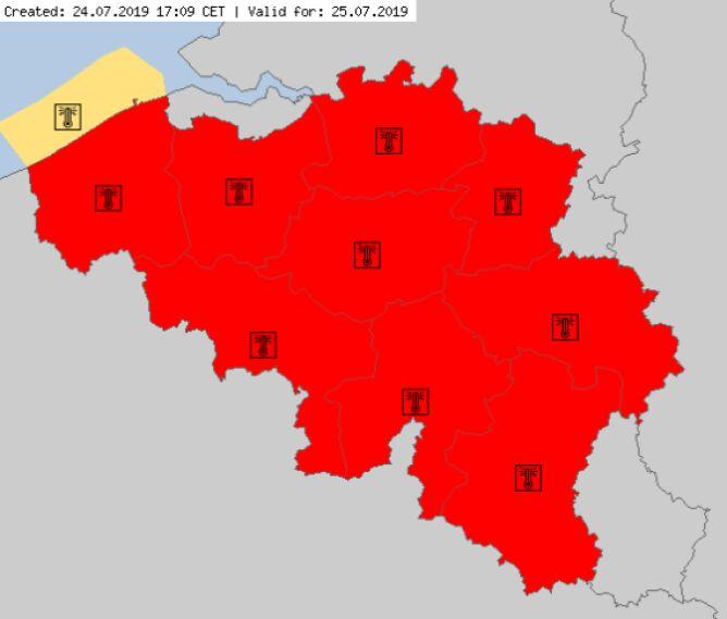 Ostrzeżenia meteorologiczne w Belgii (meteoalarm.eu)