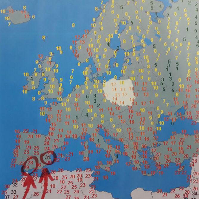 Temperatura w Europie 14 kwietnia