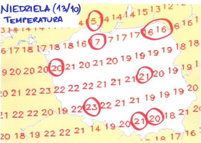 Prognozowana temperatura powietrza na niedzielę (wetteronline.de)
