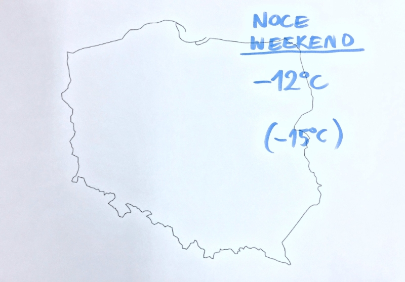 Temperatura powietrza w weekendowe noce